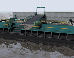 VR / AR ready River cruise and ferry floating dock 3d 1
