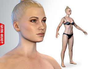 Average Caucasian Female Body 3D asset low-poly