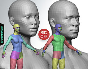 3D Average Body Low Poly Basemesh Collection