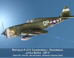 3D model Republic P-47C Thunderbolt - Little Butch - QP-V