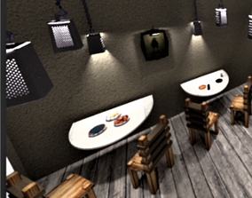 Table-chair- grater-restaurant-food 3D asset