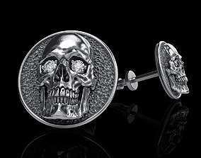 skull earrings studs 3D printable model rock anatomical