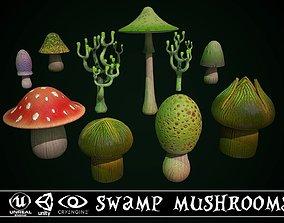 Swamp Fantasy Mushrooms 3D model