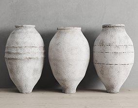 White Washed Antique Turkish Olive Jars 3D model