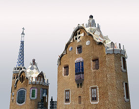 Park Guell Entrance Towers 3D model