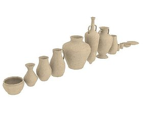 Lowpoly pottery collection 3D asset realtime