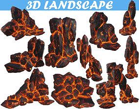 Low poly formation lava-texture 3D asset