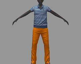 3D model avatar casual set blue line polo orange pants 1