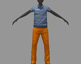 3D model avatar casual set blue line polo orange pants 1