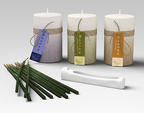 3D model Candles Incence and Burner