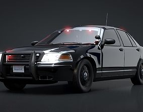 3D asset Undercover Police Car Rigged C4D