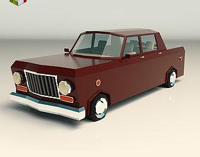 3D asset Low Poly Sedan Car 08