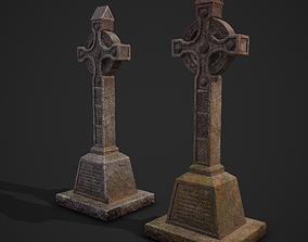 Medieval Celtic Cross Tombstone 3D asset
