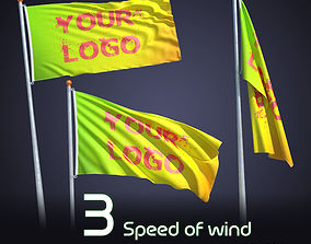 FLAG ANIMATED 3 SPEED OF WIND 3D model