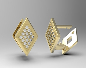Geometric earrings with diamonds Lucia 3D print model