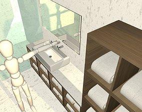 3D model modern minimalism marble tiled bathroom