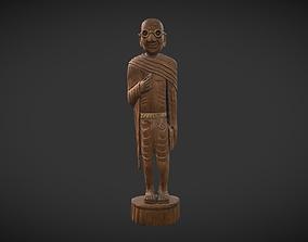 3D model game-ready Wooden Gandhi v2
