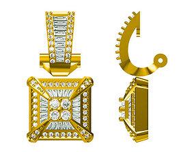 3D printable model Square shape earrings baguette cut 1