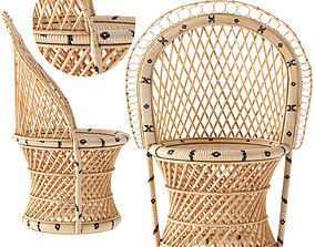 3D model Barrel-Backed Woven Dining Chair