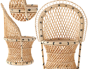 3D model chair Barrel-Backed Woven Dining Chair