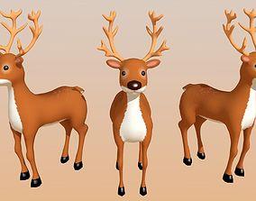 3D asset Reindeer Cartoon Lowpoly