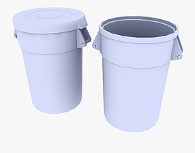3D asset Brute Industrial Trash Can