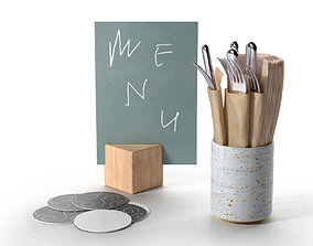 Plain Costers Menu and Cutlery Set 3D