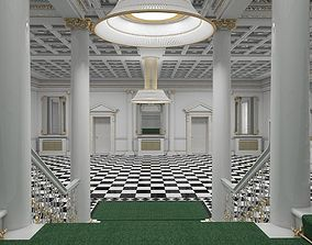 3D Grand Hall Entrance Staircase model