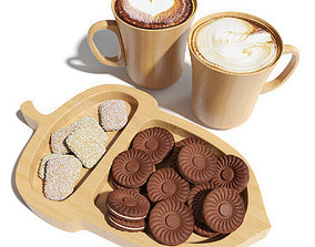 3D Eco dishes with cookies and cappuccino