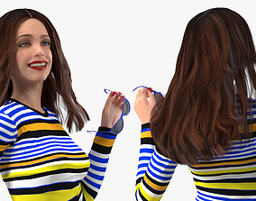 3D model Teenage Girl Fashionable Style Walking Pose