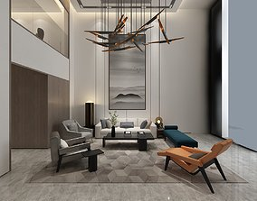 Modern living room interior 3D chandelier