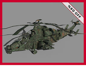 Ruined Wrecked Damaged Military Helicopter Low 3D model 2