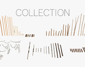 Modular Wooden Stakes and Planks Asset 3D model
