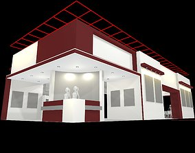 exhibition stall design 19 x 08 m 3 side open Low-poly 3D