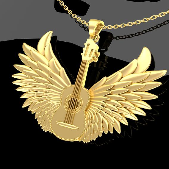 Winged Guitar Pendant Jewelry Gold 3D print model