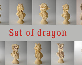 Set of dragon models figurines