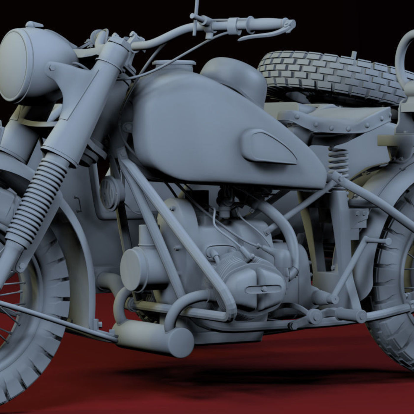 ww2 R75 Motorcycle HighPoly Model with mg42 3D model