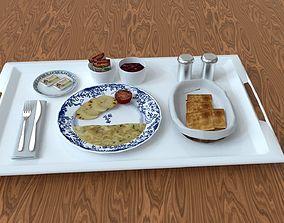 3D model low-poly Breakfast Food Tray