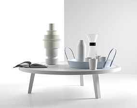 Gray 46 49 Table with Tray Drink Set Sculpture and Book 3D