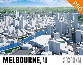3D model Melbourne City And Surroundings Australia Low 2