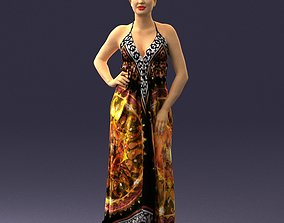 Beautiful girl in a bright dress 0299 3D model