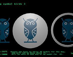3D asset Low poly symbol birds 3