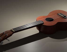 3D model animated Ukulele