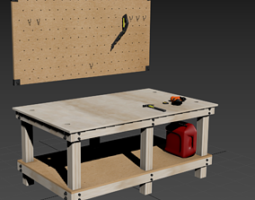 3D model Shop Table and Peg Board