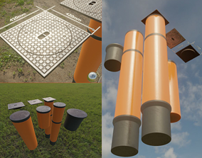 3D model Sewer Cover 5 with Pipes