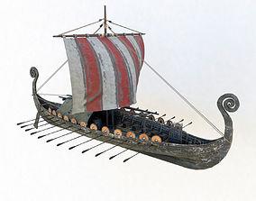 Viking ship drakkar 3d model longboat PBR