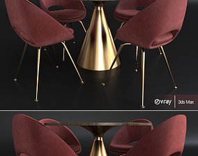 Silhouette Pedestal Round Dining Table 3D