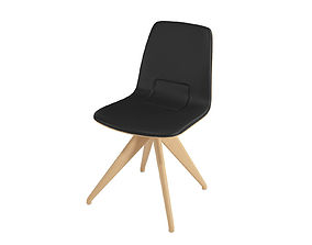 Chair TORSO 837-I POTOCCO Black leather and natural 3D