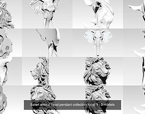 Safari animal head pendant collection lot of 3 3D model