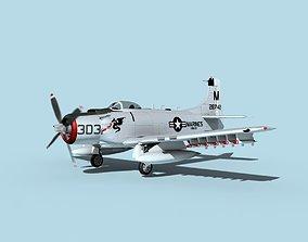3D model animated Douglas A-1H Skyraider V19 USMC